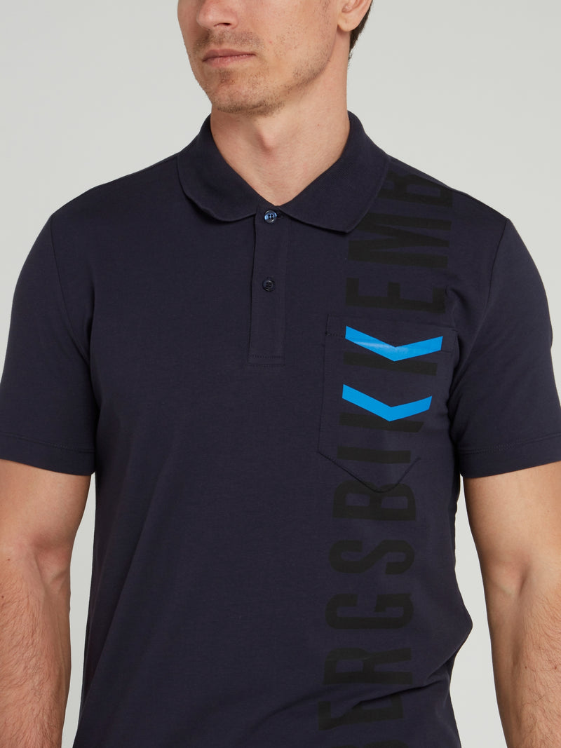 Navy Logo Chevron Polo Shirt