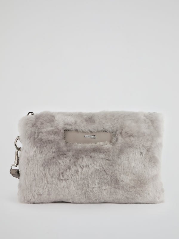 Grey Wool Skin Pouch