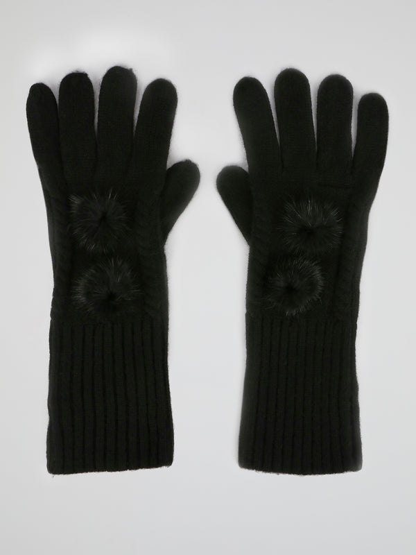 Black Mink Fur Pom Pom Gloves