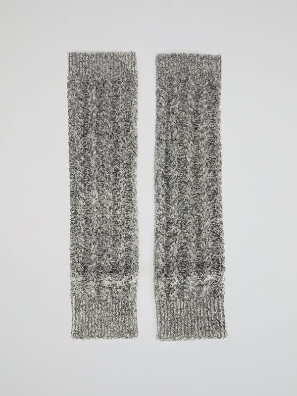 Grey Sequin Cable Knit Mittens
