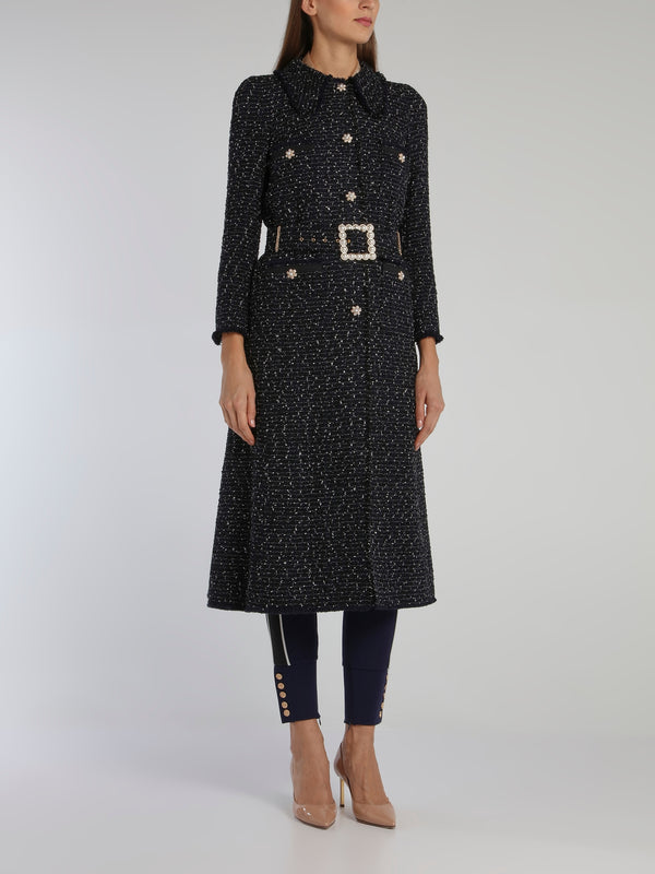Black Embellished Tweed Long Coat