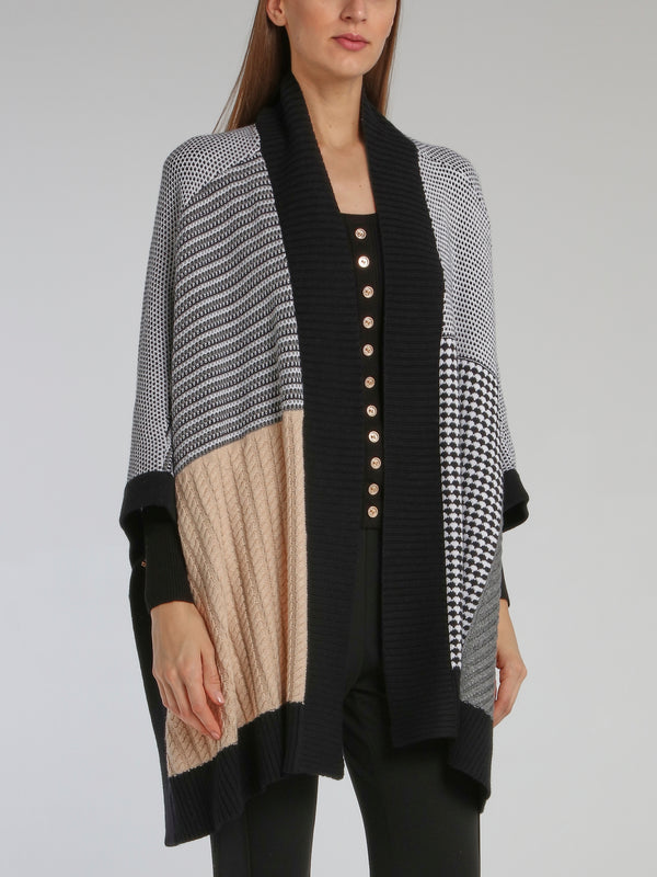 Colour Block Knitted Cape