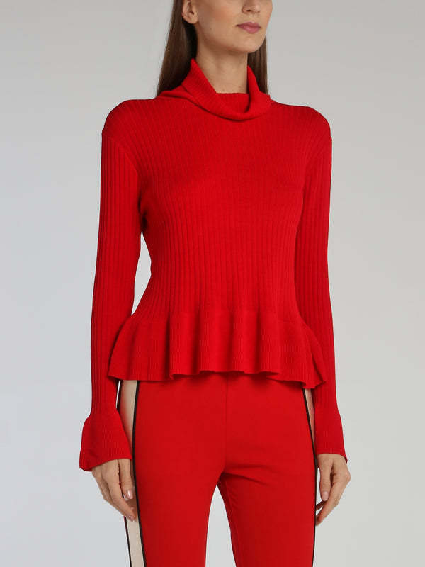 Red Cowl Neck Peplum Sweater Top