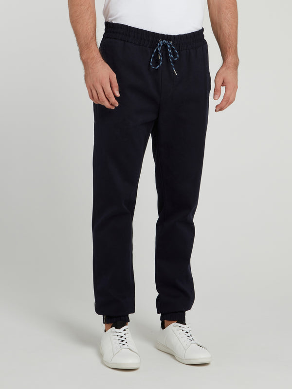 Navy Drawstring Cotton Pants