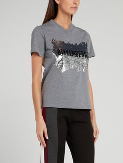 Grey Sequin Logo V-Neck T-Shirt