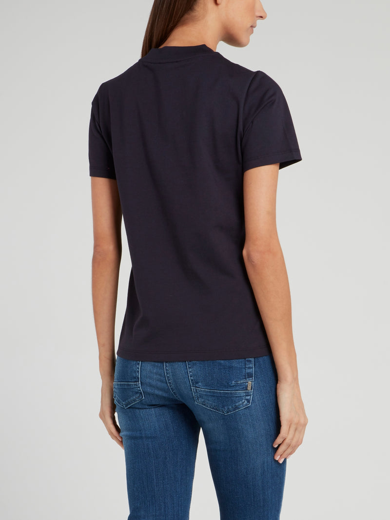 Navy Sequin Logo V-Neck T-Shirt