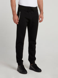 Black Appliquéd Track Pants
