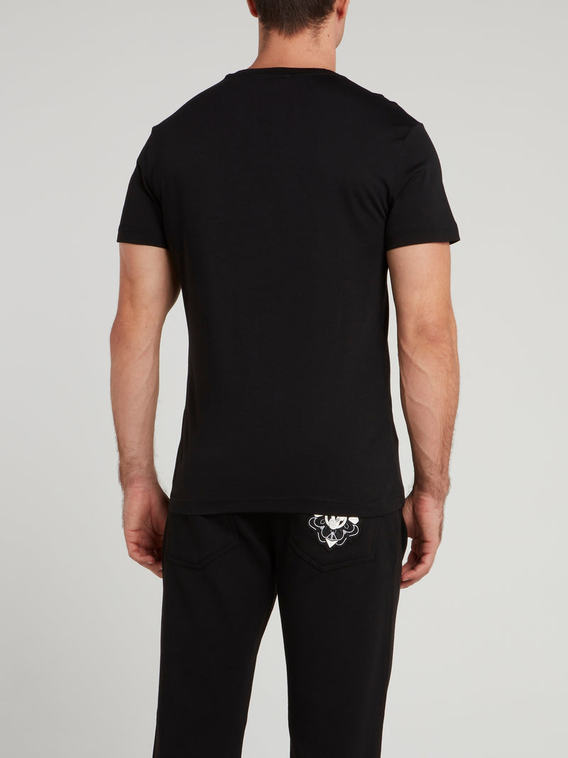 Black Embossed Print Logo T-Shirt