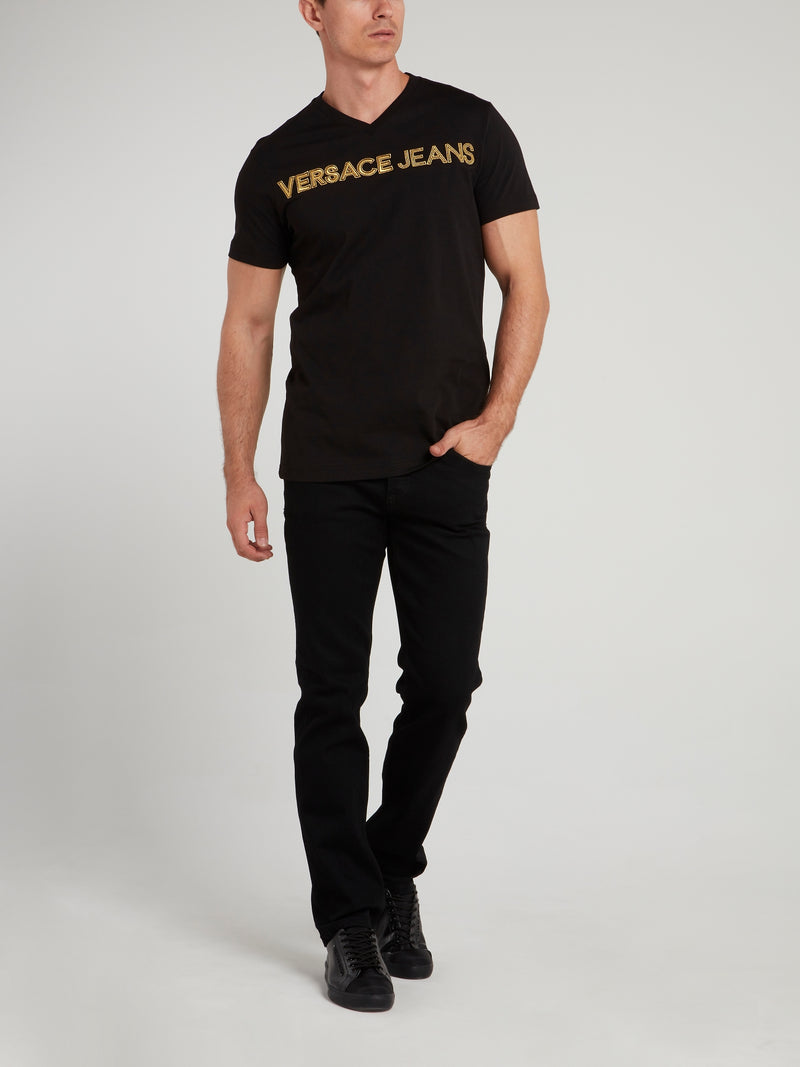 135b77bff Versace Jeans Polo Shirt In Black With Embroidered Logo