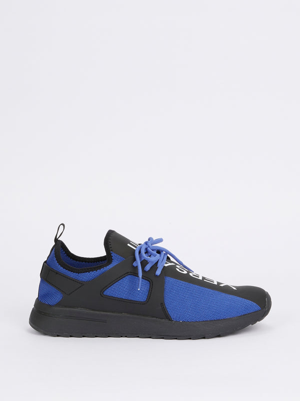 Blue Mesh Panel Lace up Sneakers