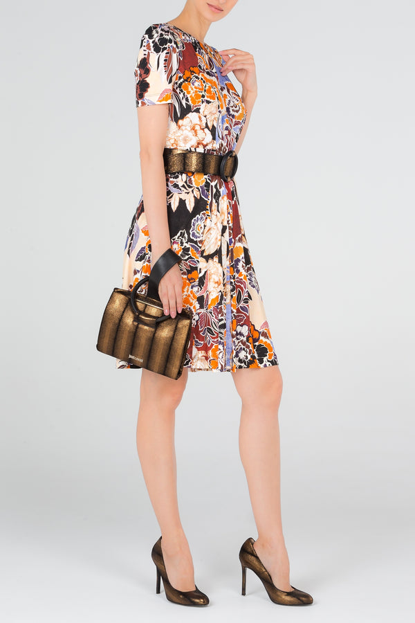 Orange Floral Keyhole Dress