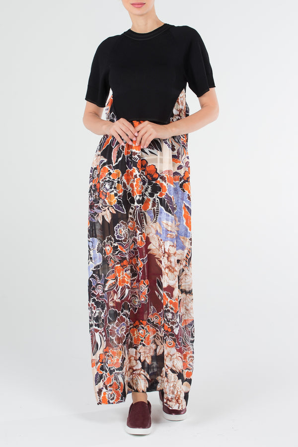 Black Bodice Floral Dress