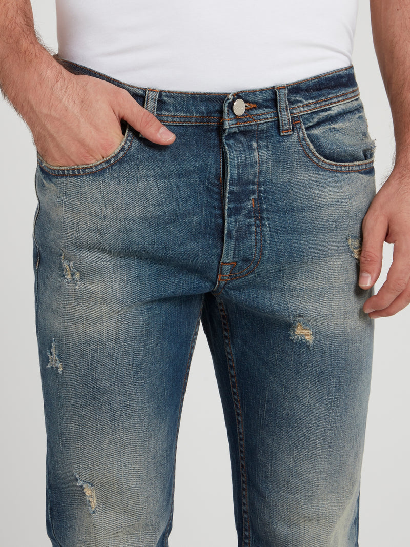 Distressed Straight Cut Jeans