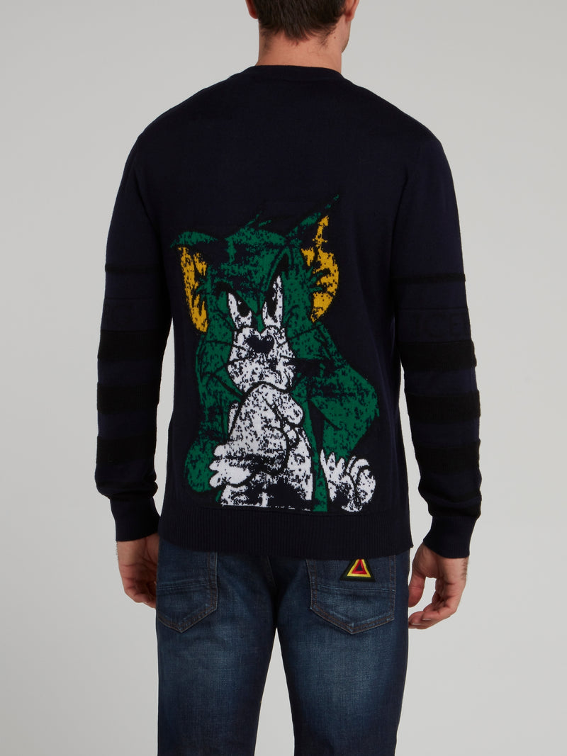 Tom and Jerry Navy Knitted Pullover