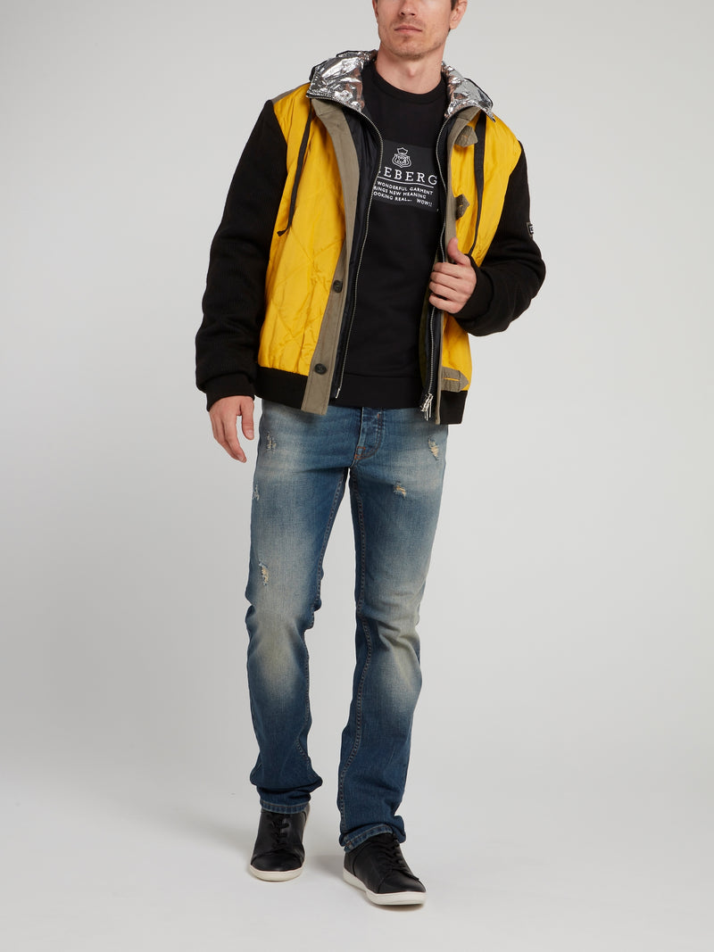 Yellow Colour Block Sport Jacket