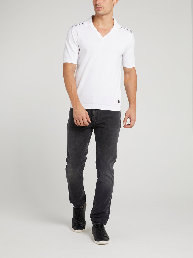 White Short Collared T-Shirt