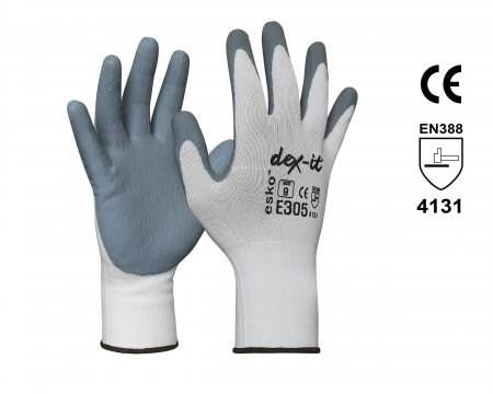 ESKO DEX-IT Glove, Grey Foam Nitrile Coating on White Nylon Liner