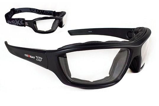COMBAT X4® safety spec, AF/AS with EVA Foam positive seal & elastic strap, Clear Lens