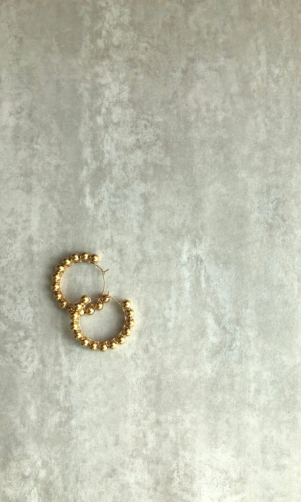 Gold Bubbles Roll-out Round Earrings