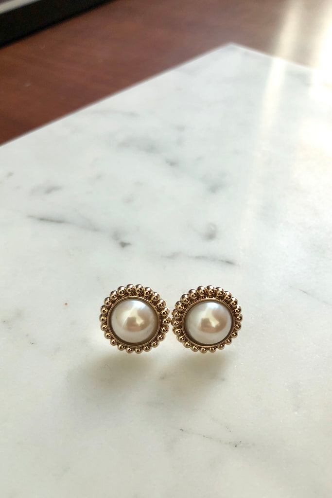Pearl Modern Vintage Stud Earrings