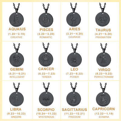 Custom4u Engravable Zodiac Sign Pendant Necklace 12 Constellation Tag