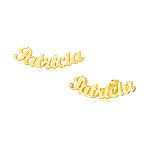 18K Gold Plated Script Style Name Stub Earrings Personalized Jewelry