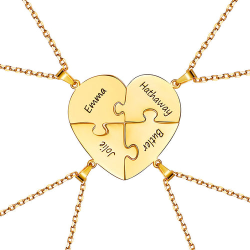 925 Sterling Silver Heart Four Puzzle Necklace for Best Friends Gifts