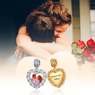 CZ Silver Heart Photo Charm For Women, AAA+ Cubic Zirconia Peronalized Engraving Bracelet Charm