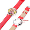 Red Leather Rose Gold Engraved Photo Watch Personalized Couple Watch