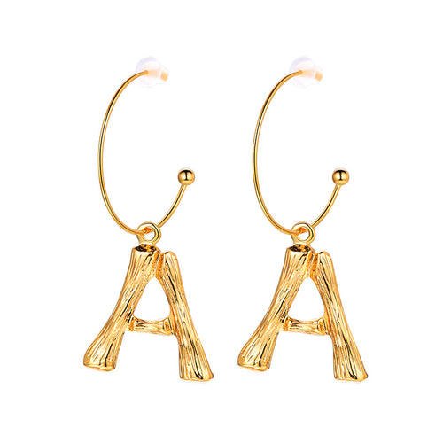 26 Letter Bamboo Dangle Earrings Gold Round Hoop Alphabet Earrings
