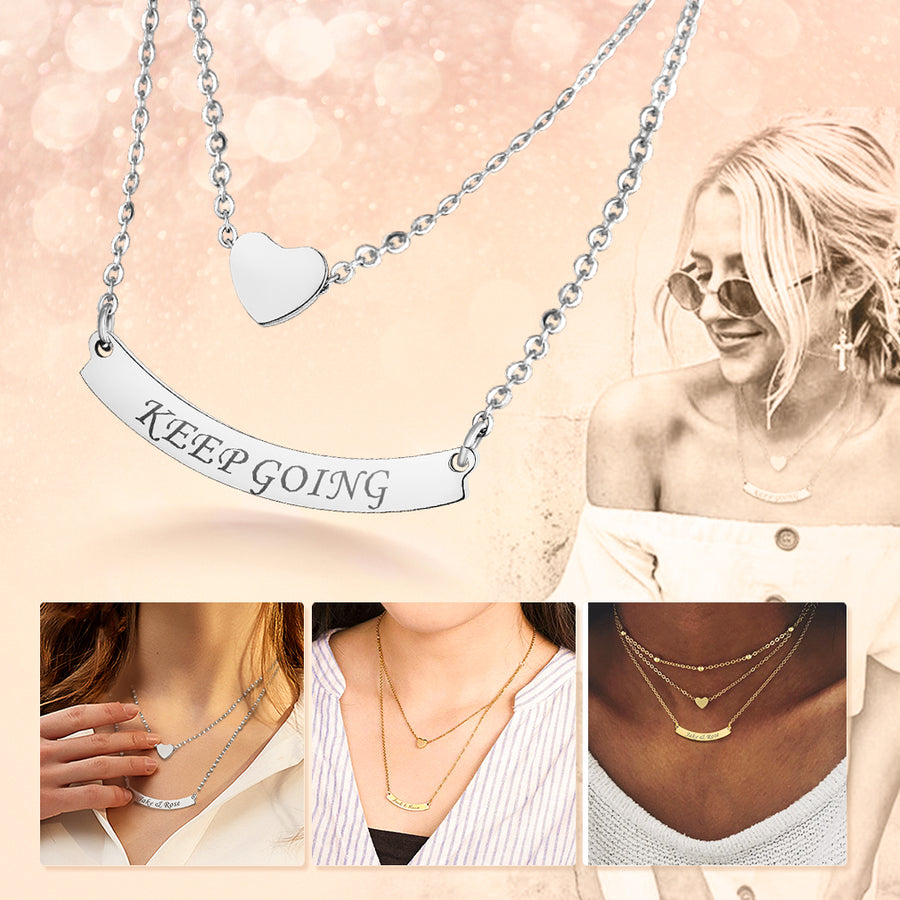 Stainless Steel Custom Heart Layered Engraving Name Choker Necklace