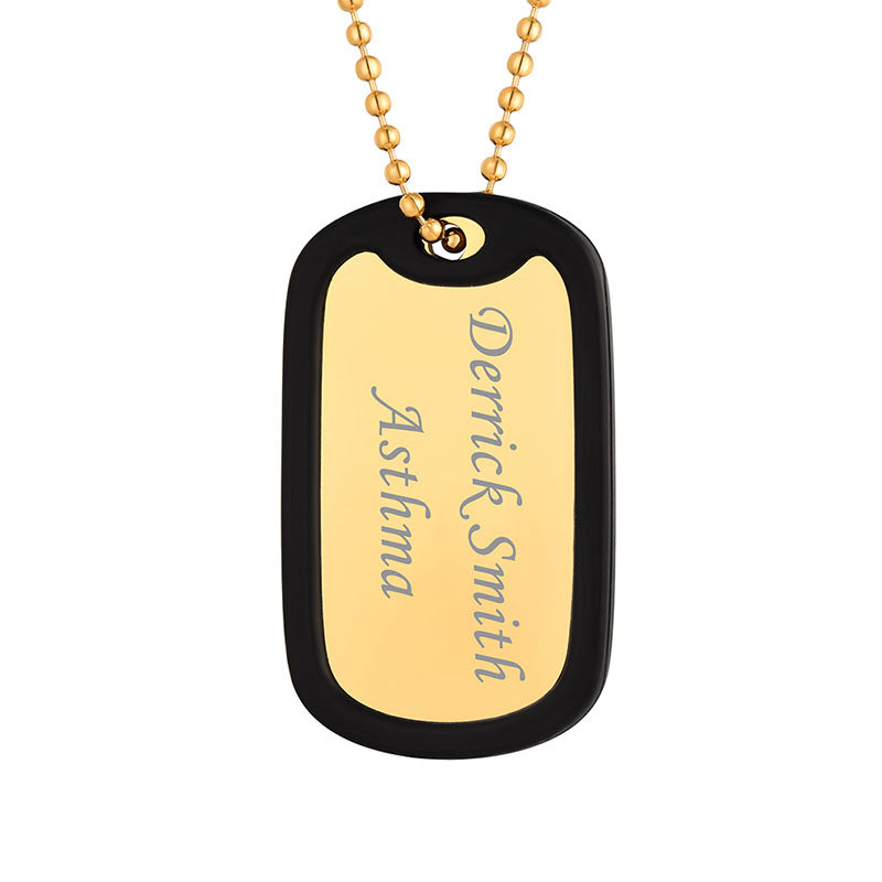 316L Stainless Steel Personalized Military ID Dog Tag US Army Necklace