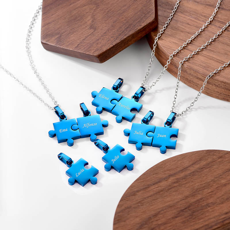 316L Stainless Steel Eight Puzzle Piece Necklaces Jigsaw Family Jewelry