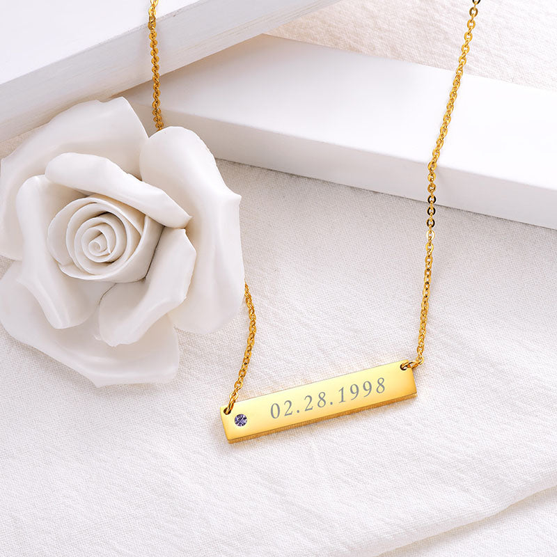 316L Stainless Steel Personalized Birthstone Engraving Bar Necklace