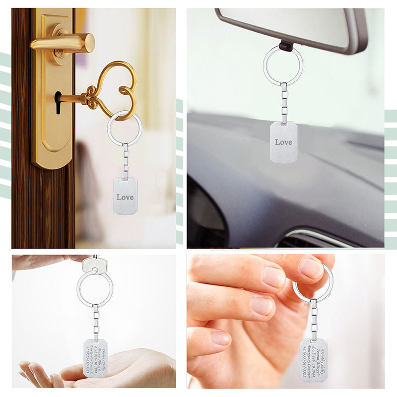 316L Stainless Steel Personalized Engraving Key Chain Gifts For Him