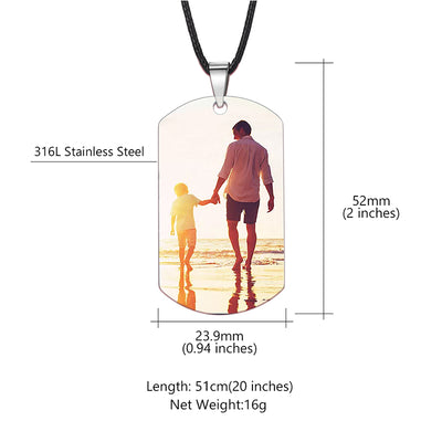 316L Stainless Steel Personalized Photo Wax Rope Army Dog Tag For Him