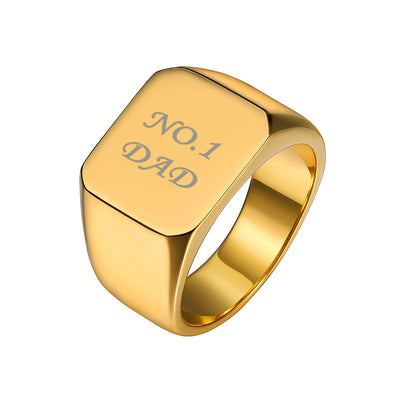 316L Stainless Steel Personalized Signet Name Band Ring Gifts For Men