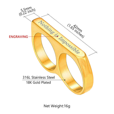 316L Stainless Steel Thin Two Finger Band Ring Punk Jewelry For Men