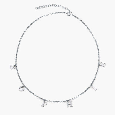 925 Sterling Sliver Personalized Gothic Name Choker Initial Choker