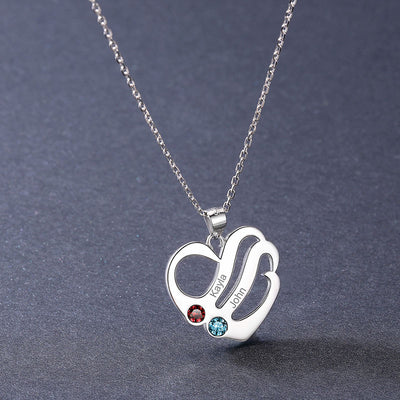 925 Sterling Silver Double Heart Name Birthstones Necklace For Her