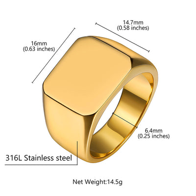 316L Stainless Steel Engraving Name Ring Personalized Gifts For Him