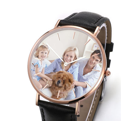 Black Leather Personalized Photo Watch