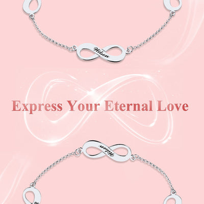 925 Sterling Silver Engraving Triple Infinity Anklet Bracelet For Her