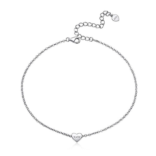 925 Sterling Silver Engraving Tiny Heart Anklet Personalized Gifts