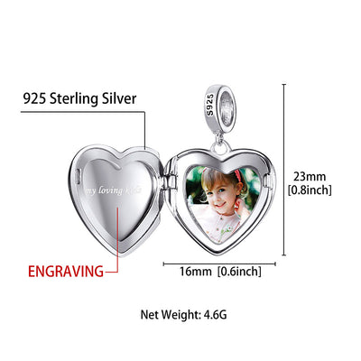 925 Sterling Silver Personalized Photo Engraved Heart Charm