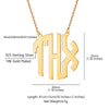 925 Sterling Silver Personalized 3 Initial Block Monogram Necklace