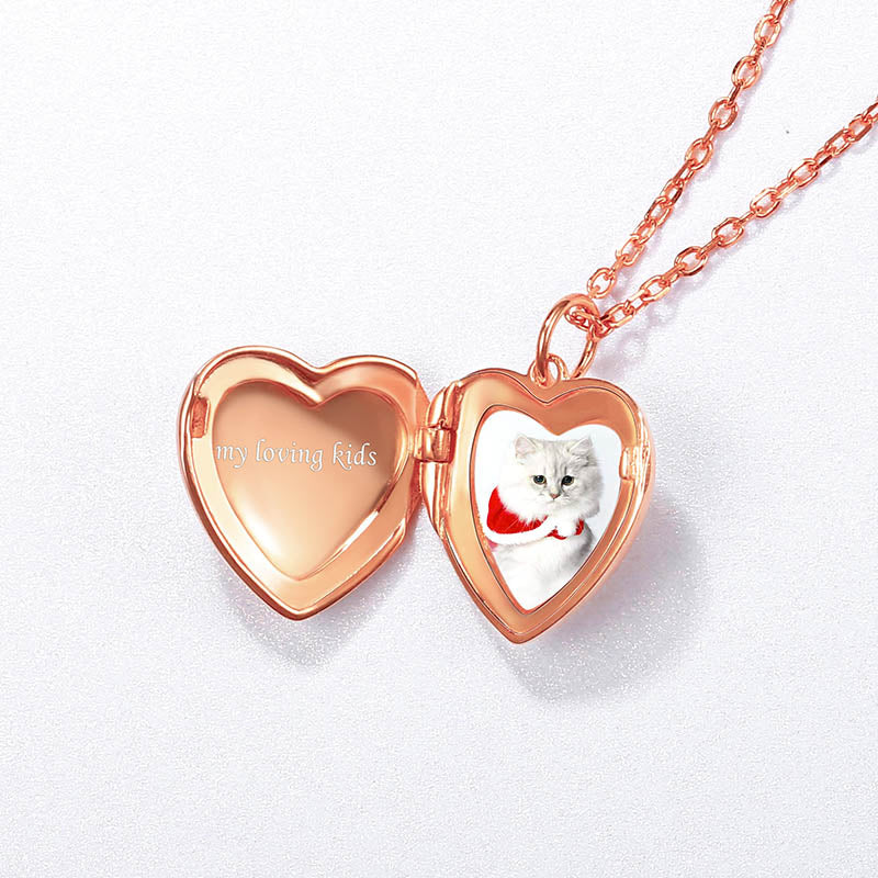 Silver Heart Custom Photo Engraved Locket Necklace