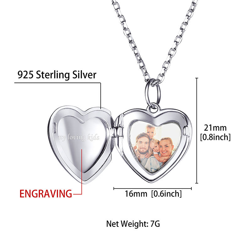 925 Sterling Silver Personalized Engraved Heart Photo Locket Necklace