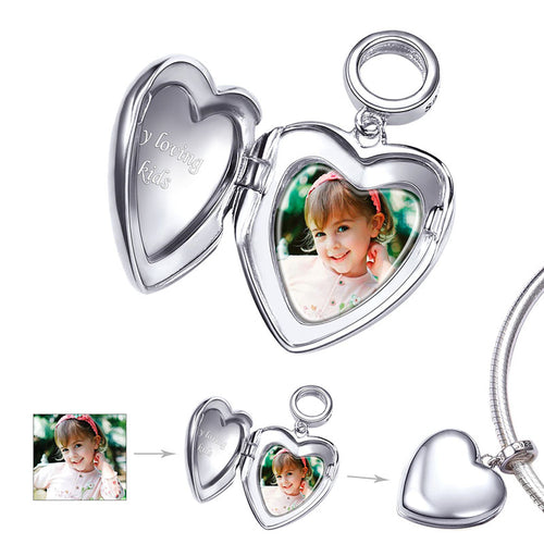 925 Sterling Silver Personalized Heart Engraved Photo Locket Charm