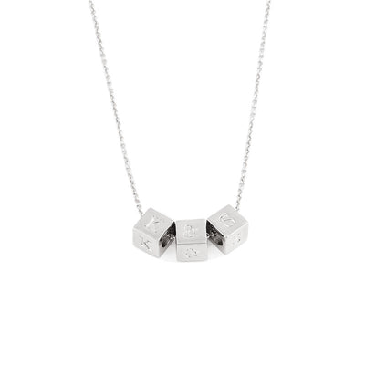 925 Sterling Silver Personalized Initial Cube Necklace Name Choker